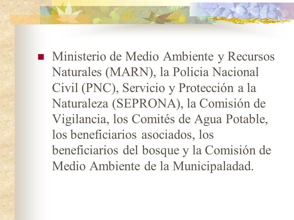 Ministerio de Medio Ambiente y Recursos Naturales (MARN), la Policia Nacional Civil (PNC), Servicio y Protección a la Naturaleza (SEPRONA), la Comisió