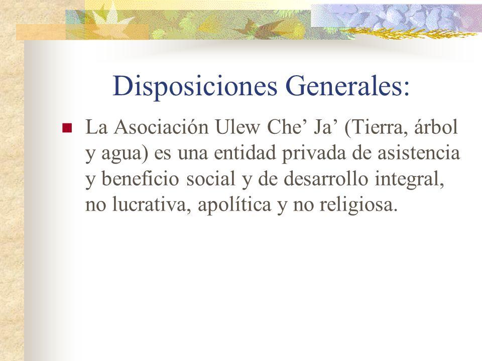 Disposiciones Generales: La Asociación Ulew Che Ja (Tierra, árbol y agua) es una entidad privada de asistencia y beneficio social y de desarrollo inte
