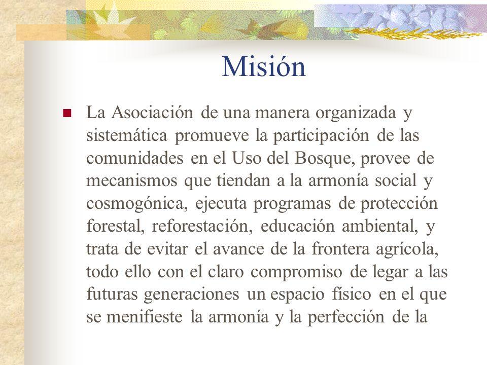 Misión La Asociación de una manera organizada y sistemática promueve la participación de las comunidades en el Uso del Bosque, provee de mecanismos qu