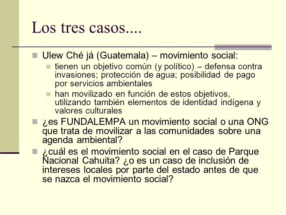 Movimientos sociales no siempre llevan a la inclusión de los pobres La Coordinadora en Cochabamba en Bolivia es un ejemplo (alianza entre trabajadores, y agricultores con riego (y vendedores de agua)) en el informe no hemos visto pruebas de que los movimientos sociales han sido capaces de contribuir a crear condiciones de mayor equidad esto se necesita examinar explícitamente, no suponerlo participación invitada o diseñada a través de políticas de inclusión como el comanejo forestal pueda resultar en una legitimación de la exclusión – de las relaciones de poder existentes – en lugar de reemplazarlas