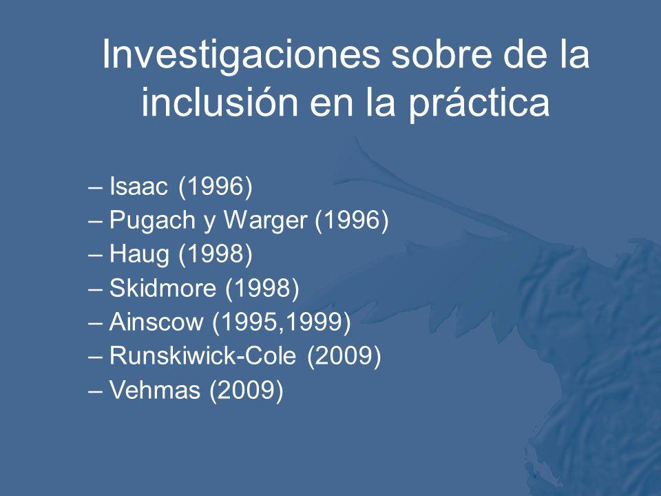 Investigaciones sobre de la inclusión en la práctica –Isaac (1996) –Pugach y Warger (1996) –Haug (1998) –Skidmore (1998) –Ainscow (1995,1999) –Runskiwick-Cole (2009) –Vehmas (2009)