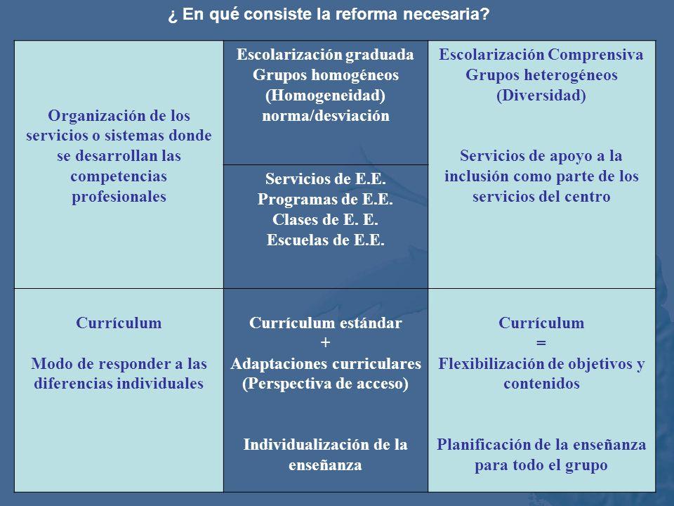 Organización escolar Modo de escolarización: grupos heterogéneos vs. heterogéneos (escolarización comprensiva). Explicación del fracaso escolar: no pa