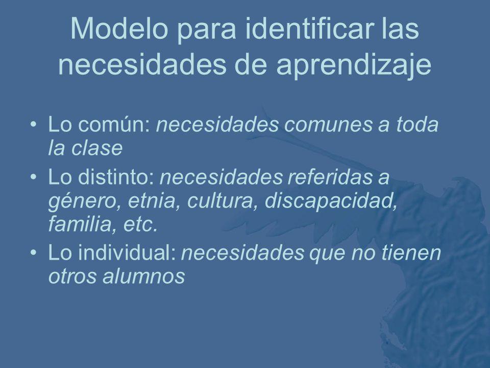 Modelo para identificar las necesidades de aprendizaje Lo común Lo distinto Lo individual