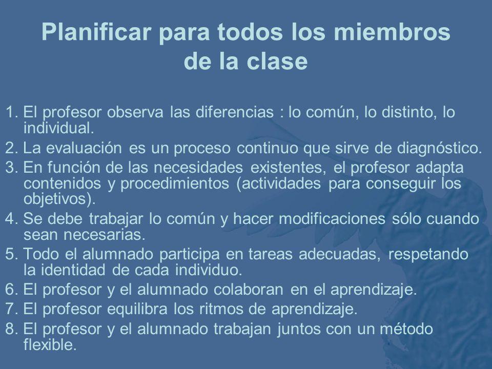 3 ámbitos de trabajo –Organización y gestión de la clase. –El ambiente: las relaciones en la clase. –El desarrollo del trabajo académico: planificació