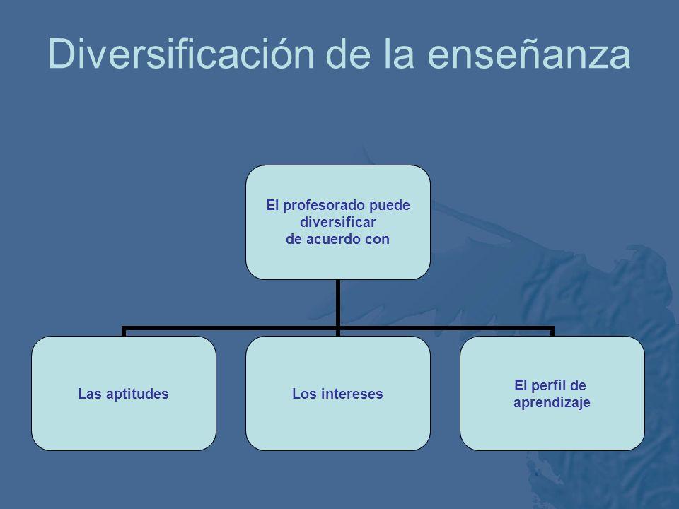 Diversificación de la enseñanza El profesorado puede diversificar El contenidoEl procesoEl producto