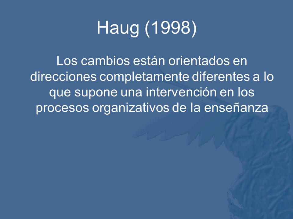 Haug (1998) Los cambios están orientados en direcciones completamente diferentes a lo que supone una intervención en los procesos organizativos de la enseñanza