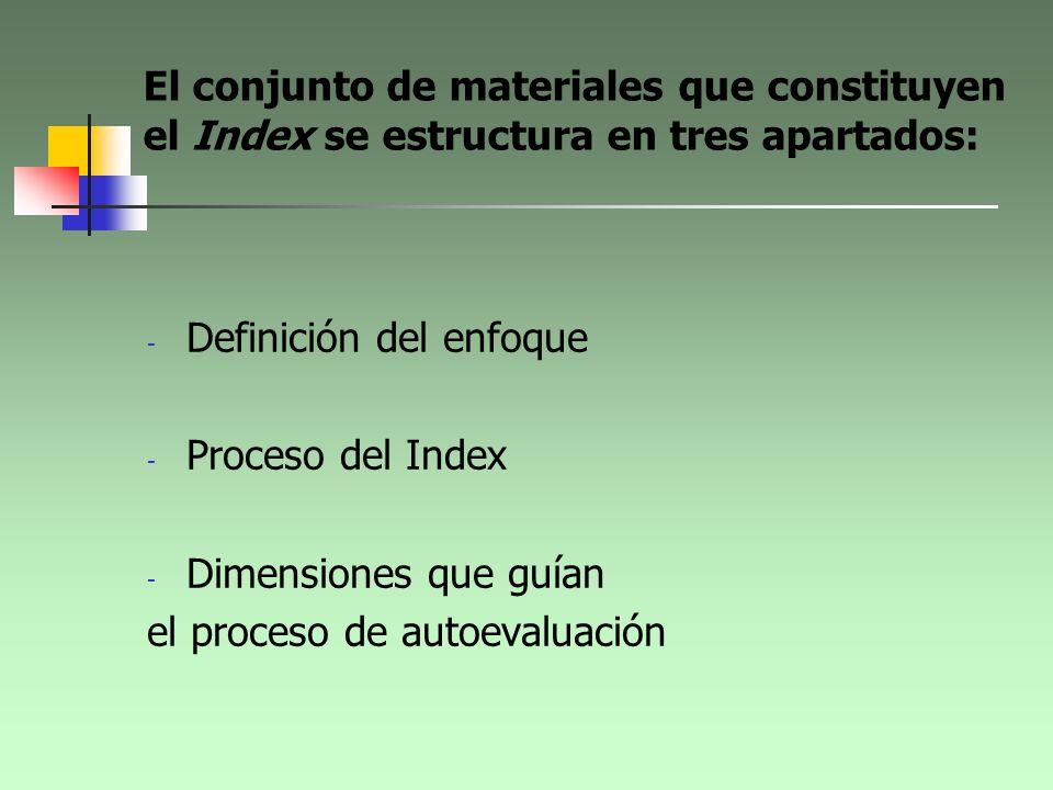 El conjunto de materiales que constituyen el Index se estructura en tres apartados: - Definición del enfoque - Proceso del Index - Dimensiones que guí