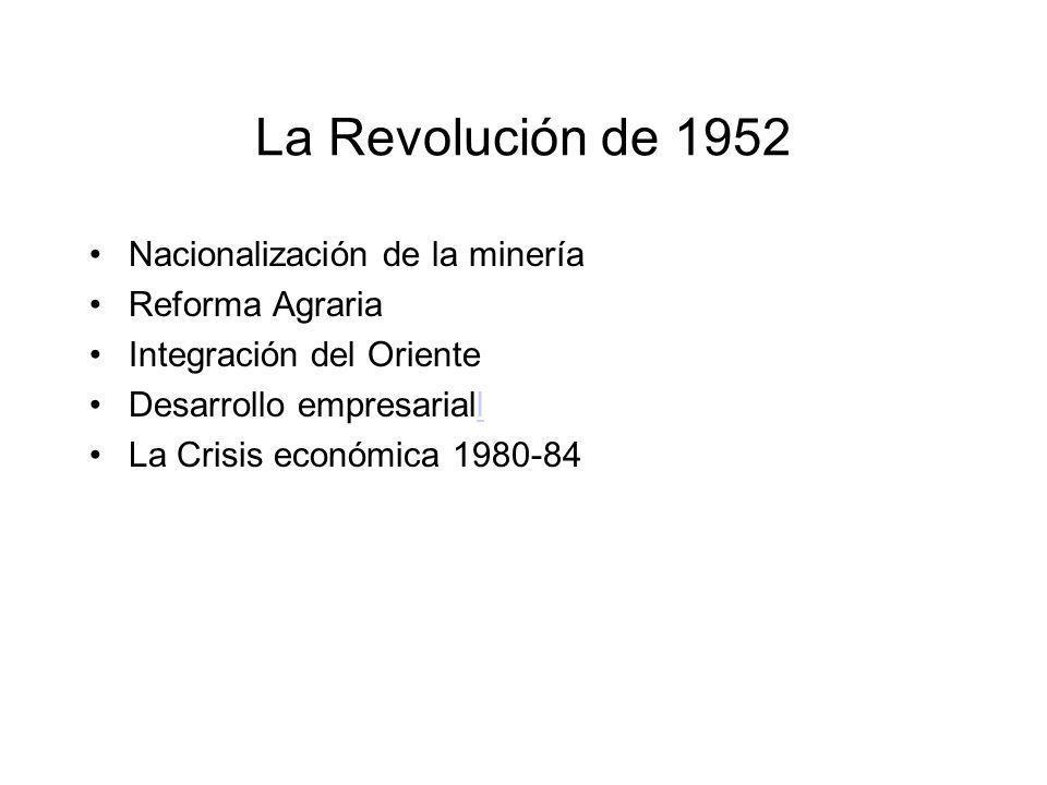 La Revolución de 1952 Nacionalización de la minería Reforma Agraria Integración del Oriente Desarrollo empresarialll La Crisis económica 1980-84