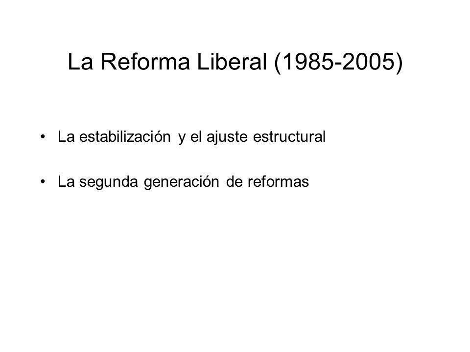 La Reforma Liberal (1985-2005) La estabilización y el ajuste estructural La segunda generación de reformas