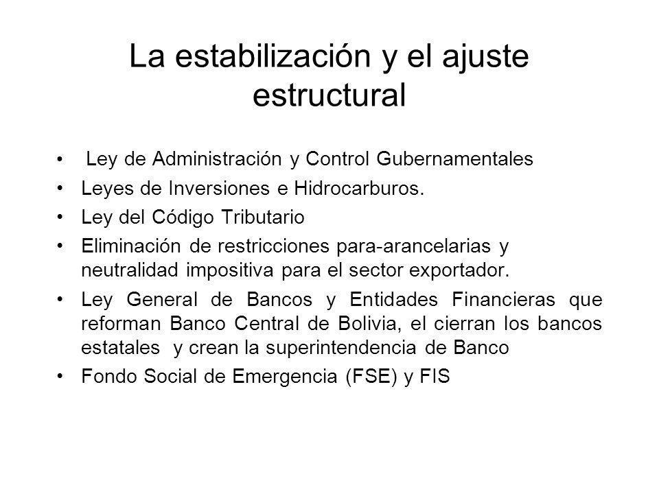 La estabilización y el ajuste estructural Ley de Administración y Control Gubernamentales Leyes de Inversiones e Hidrocarburos. Ley del Código Tributa