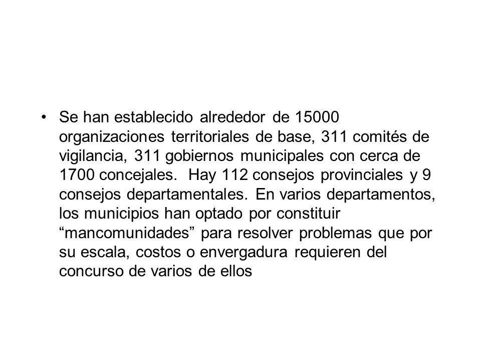 Se han establecido alrededor de 15000 organizaciones territoriales de base, 311 comités de vigilancia, 311 gobiernos municipales con cerca de 1700 con
