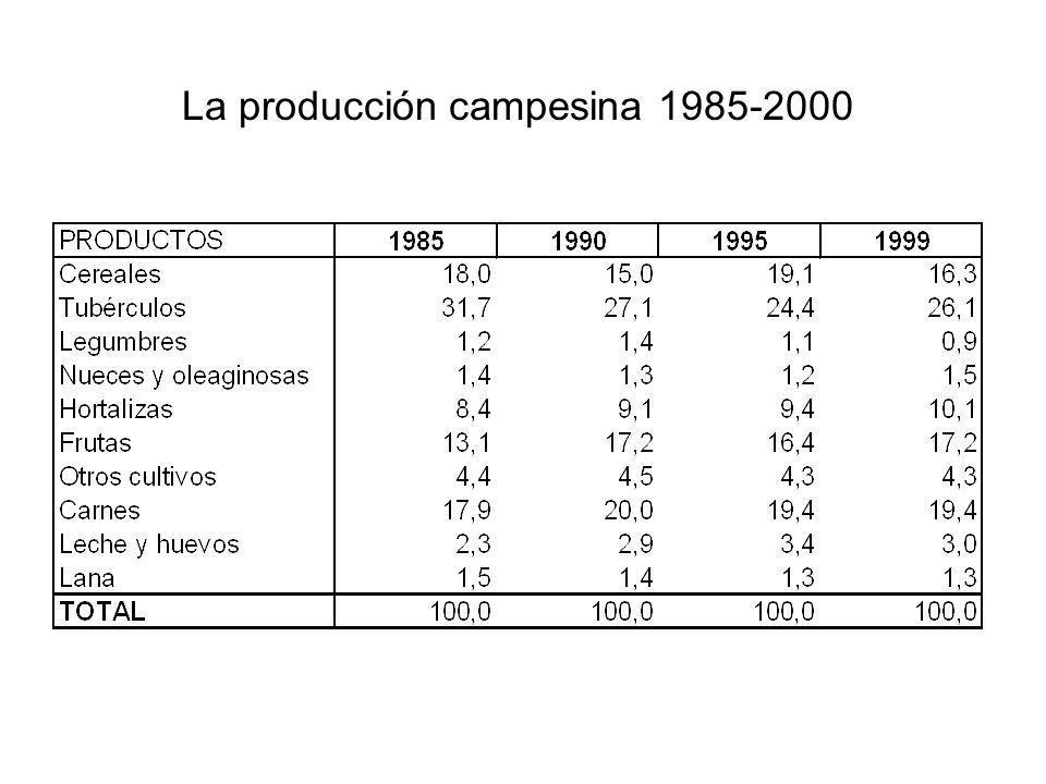 La producción campesina 1985-2000