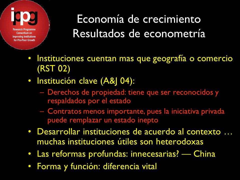 Economía de crecimiento Resultados de econometría Instituciones cuentan mas que geografía o comercio (RST 02) Institución clave (A&J 04): –Derechos de