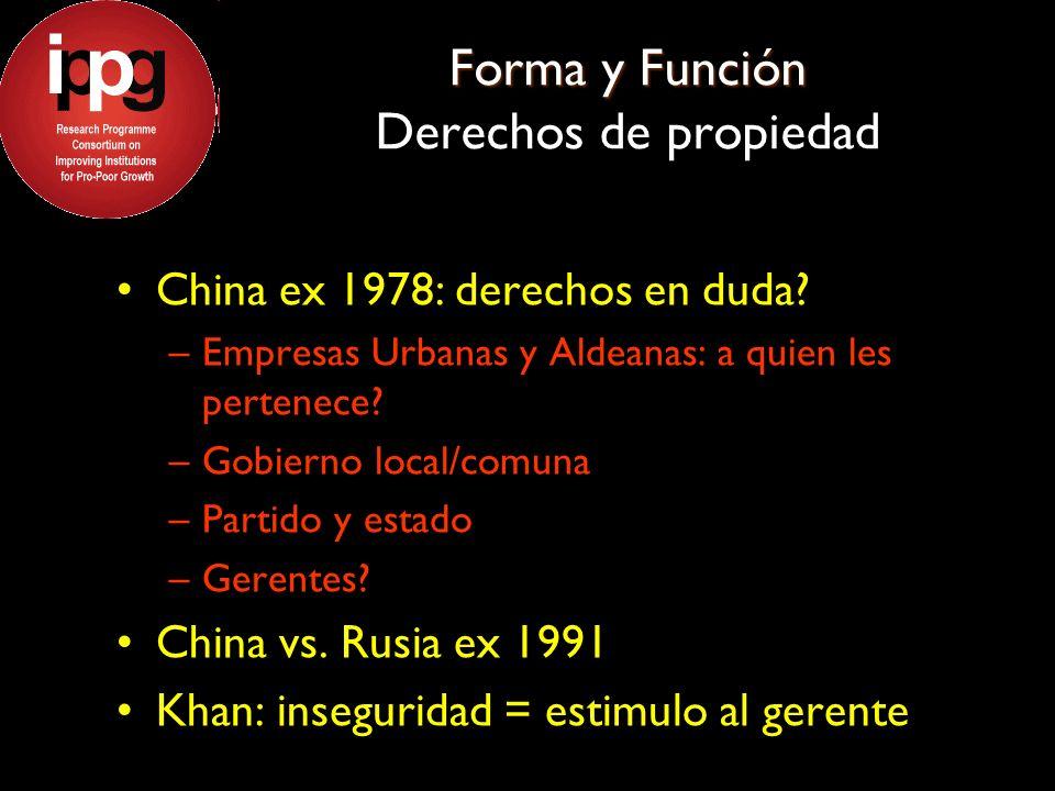 Forma y Función Forma y Función Derechos de propiedad China ex 1978: derechos en duda? –Empresas Urbanas y Aldeanas: a quien les pertenece? –Gobierno