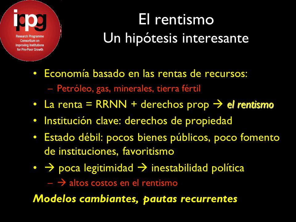 El rentismo Un hipótesis interesante Economía basado en las rentas de recursos: –Petróleo, gas, minerales, tierra fértil el rentismoLa renta = RRNN +