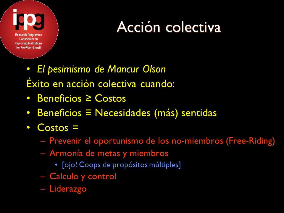 Acción colectiva El pesimismo de Mancur Olson Éxito en acción colectiva cuando: Beneficios Costos Beneficios Necesidades (más) sentidas Costos = –Prevenir el oportunismo de los no-miembros (Free-Riding) –Armonía de metas y miembros [ojo.
