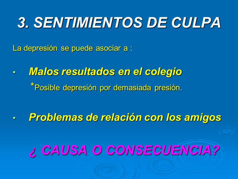 3. SENTIMIENTOS DE CULPA La depresión se puede asociar a : Malos resultados en el colegio Malos resultados en el colegio * Posible depresión por demas