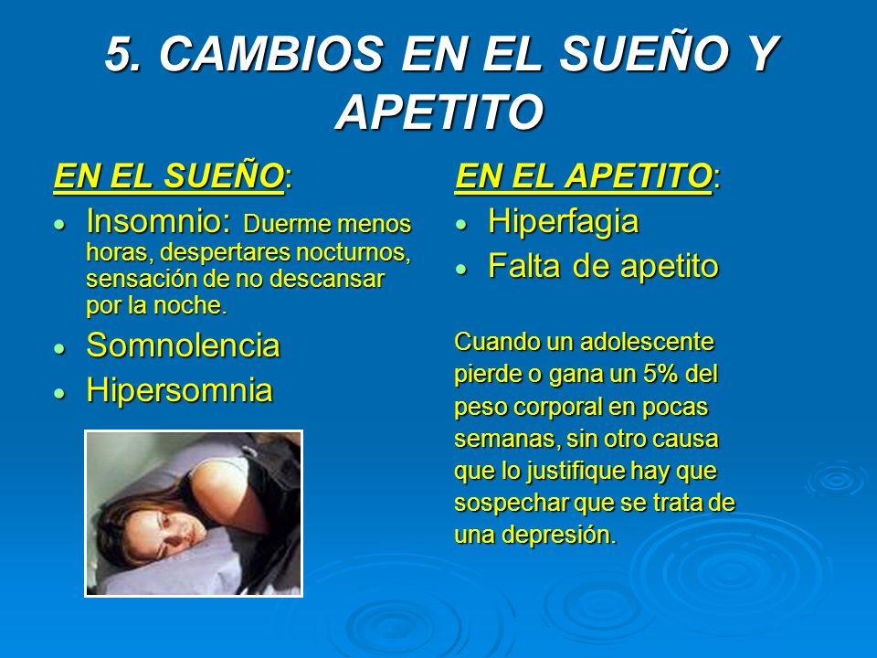 5. CAMBIOS EN EL SUEÑO Y APETITO EN EL SUEÑO: Insomnio: Duerme menos horas, despertares nocturnos, sensación de no descansar por la noche. Insomnio: D