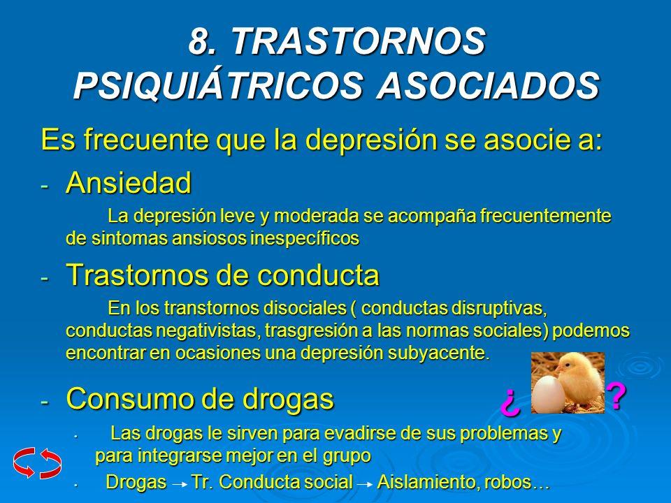 8. TRASTORNOS PSIQUIÁTRICOS ASOCIADOS Es frecuente que la depresión se asocie a: - Ansiedad La depresión leve y moderada se acompaña frecuentemente de