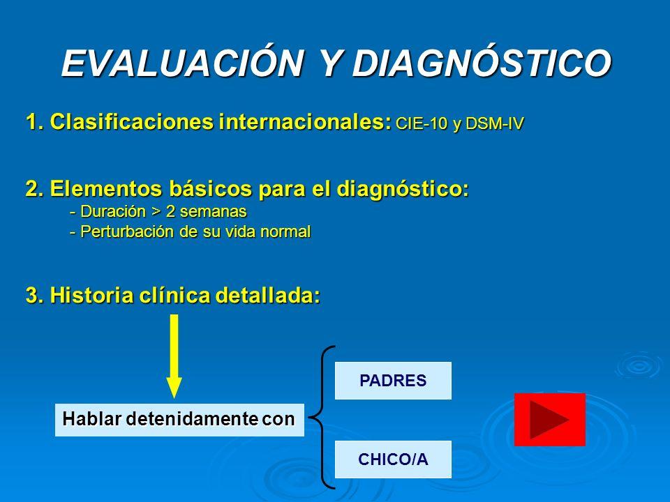 EVALUACIÓN Y DIAGNÓSTICO 1. Clasificaciones internacionales: CIE-10 y DSM-IV 2. Elementos básicos para el diagnóstico: - Duración > 2 semanas - Pertur