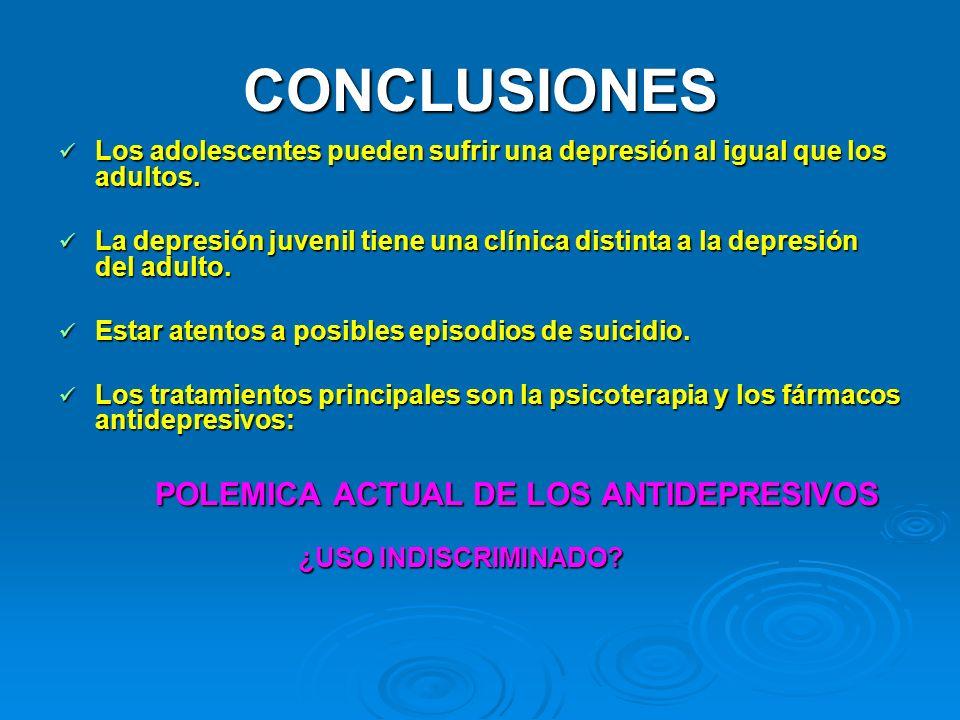 CONCLUSIONES Los adolescentes pueden sufrir una depresión al igual que los adultos. Los adolescentes pueden sufrir una depresión al igual que los adul