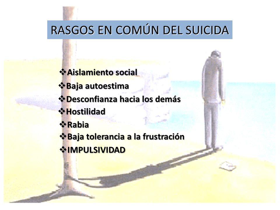 RASGOS EN COMÚN DEL SUICIDA Aislamiento social Aislamiento social Baja autoestima Baja autoestima Desconfianza hacia los demás Desconfianza hacia los