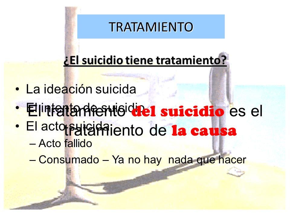 TRATAMIENTO ¿El suicidio tiene tratamiento? La ideación suicida El intento de suicidio El acto suicida –Acto fallido –Consumado – Ya no hay nada que h