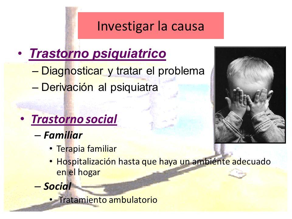 Investigar la causa Trastorno social – Familiar Terapia familiar Hospitalización hasta que haya un ambiénte adecuado en el hogar – Social Tratamiento