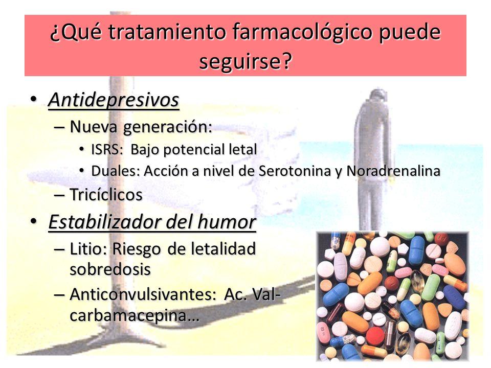 ¿Qué tratamiento farmacológico puede seguirse? Antidepresivos Antidepresivos – Nueva generación: ISRS: Bajo potencial letal ISRS: Bajo potencial letal