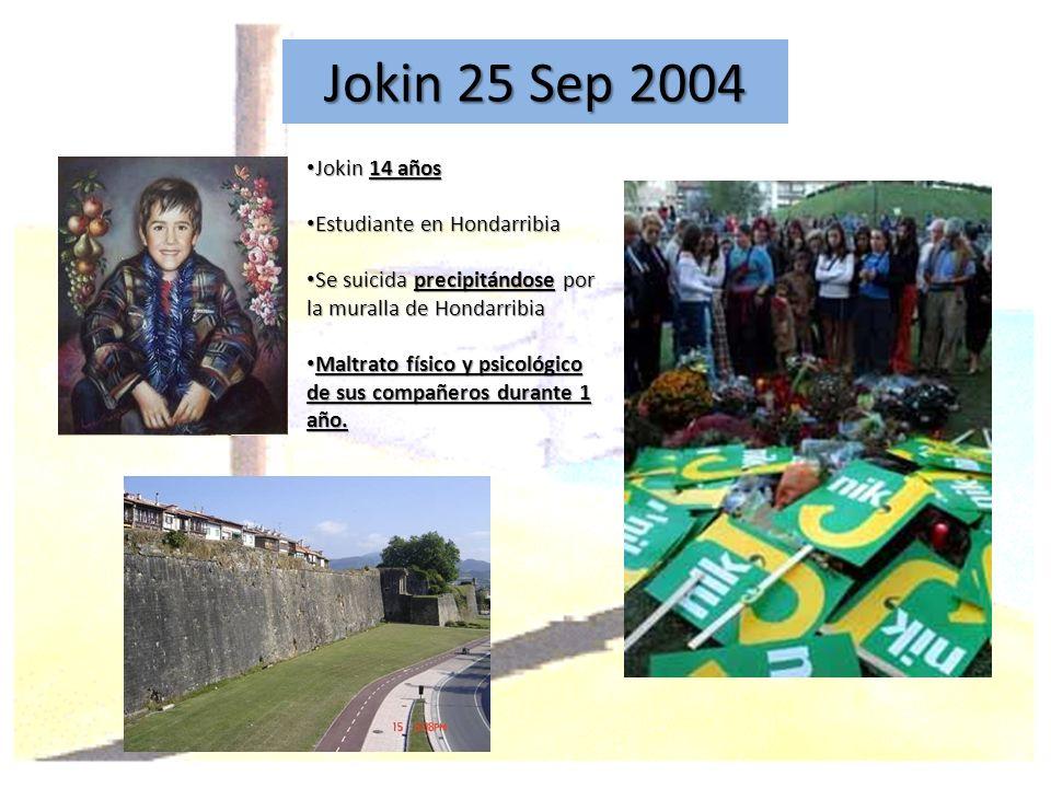 Jokin 25 Sep 2004 Jokin 14 años Jokin 14 años Estudiante en Hondarribia Estudiante en Hondarribia Se suicida precipitándose por la muralla de Hondarri