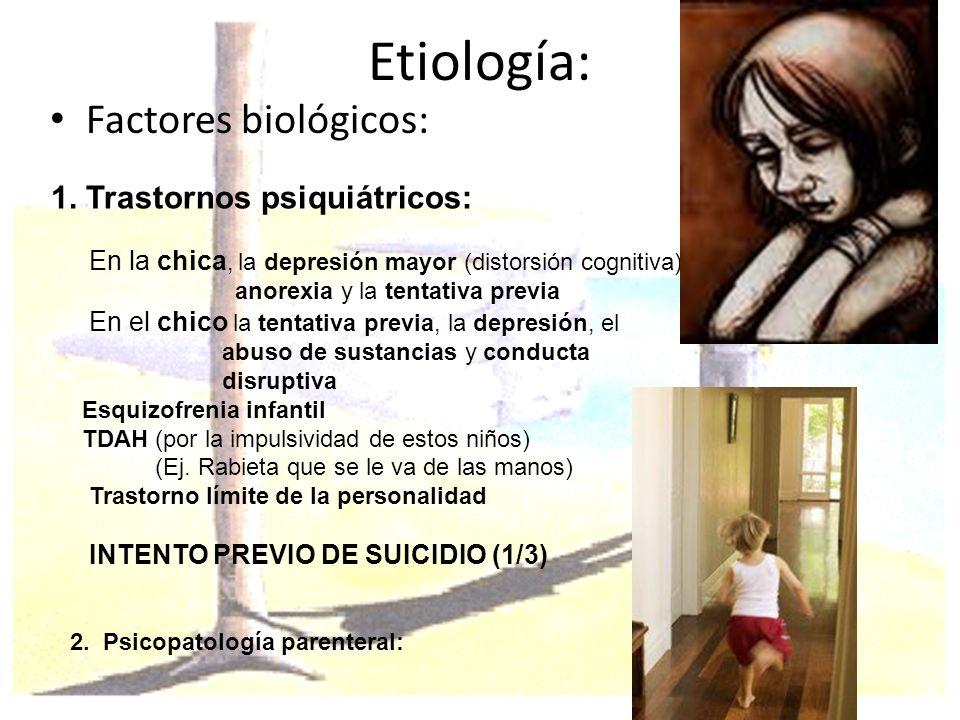 Etiología: Factores biológicos: 1. Trastornos psiquiátricos: En la chica, la depresión mayor (distorsión cognitiva) anorexia y la tentativa previa En