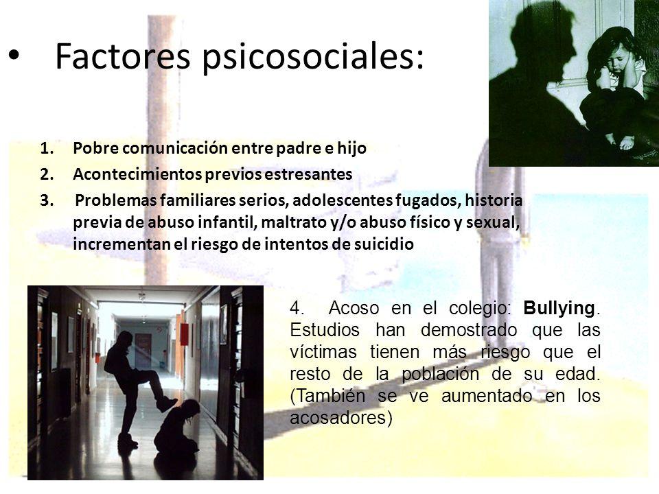 Factores psicosociales: 1.Pobre comunicación entre padre e hijo 2.Acontecimientos previos estresantes 3. Problemas familiares serios, adolescentes fug