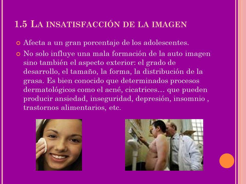 1.5 L A INSATISFACCIÓN DE LA IMAGEN Afecta a un gran porcentaje de los adolescentes. No solo influye una mala formación de la auto imagen sino también