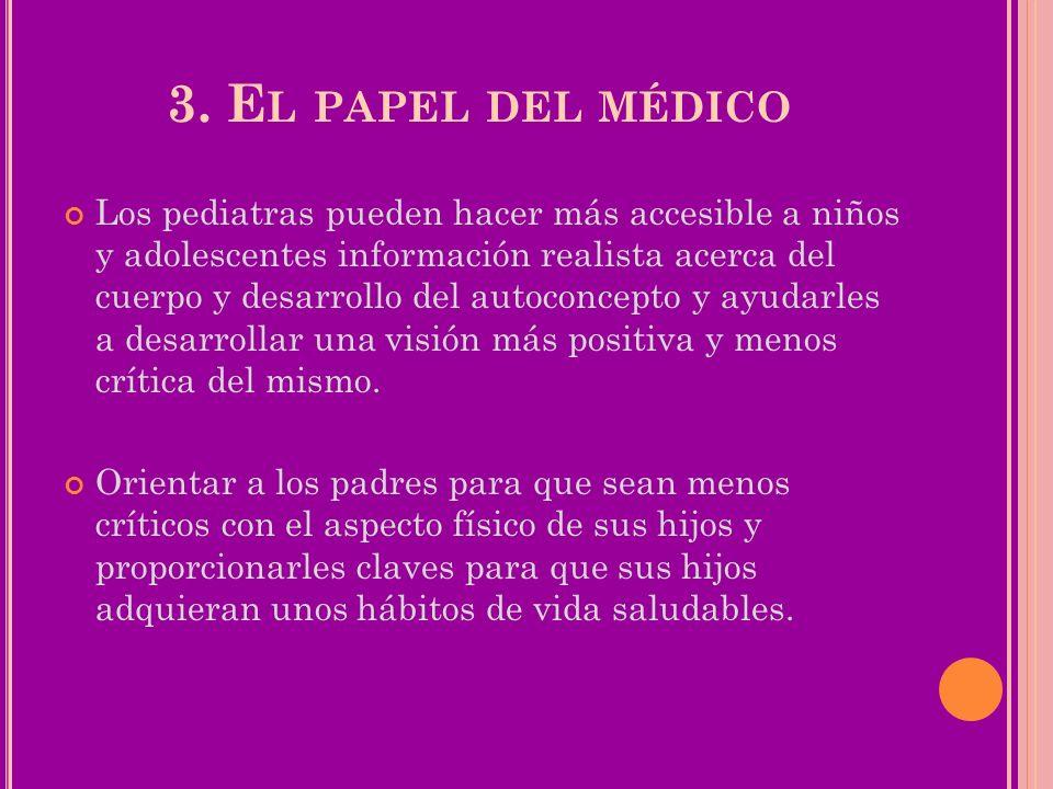 3. E L PAPEL DEL MÉDICO Los pediatras pueden hacer más accesible a niños y adolescentes información realista acerca del cuerpo y desarrollo del autoco