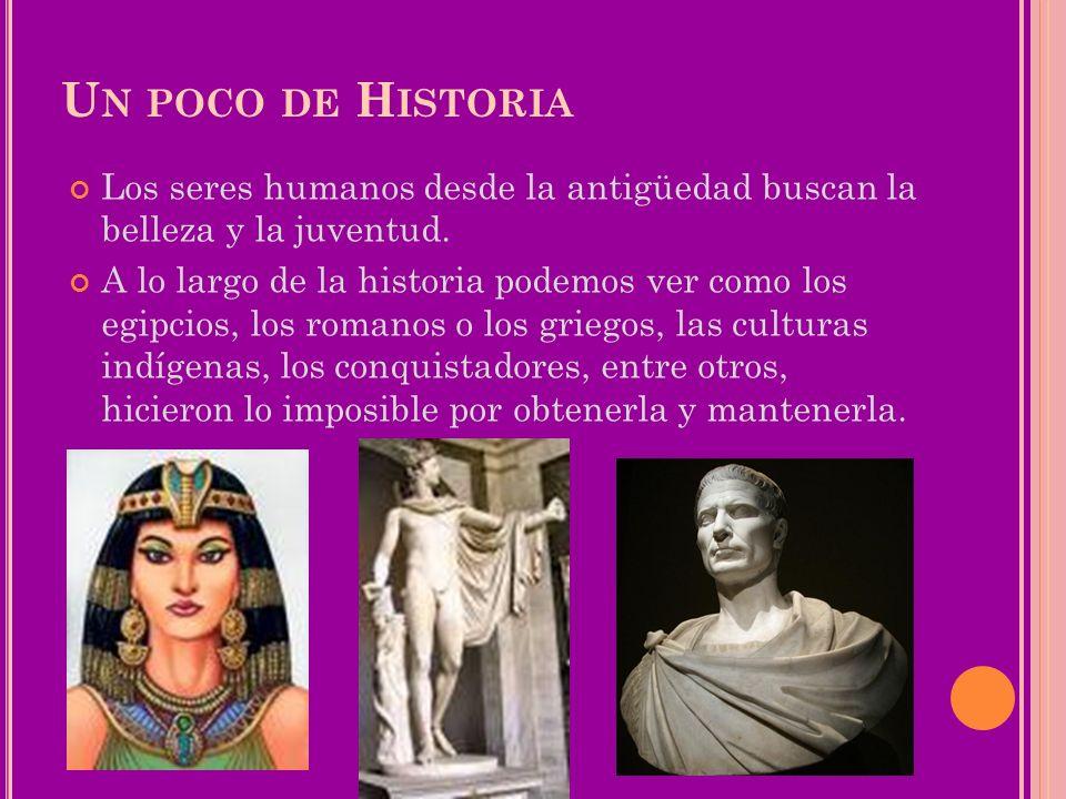 U N POCO DE H ISTORIA Los seres humanos desde la antigüedad buscan la belleza y la juventud. A lo largo de la historia podemos ver como los egipcios,