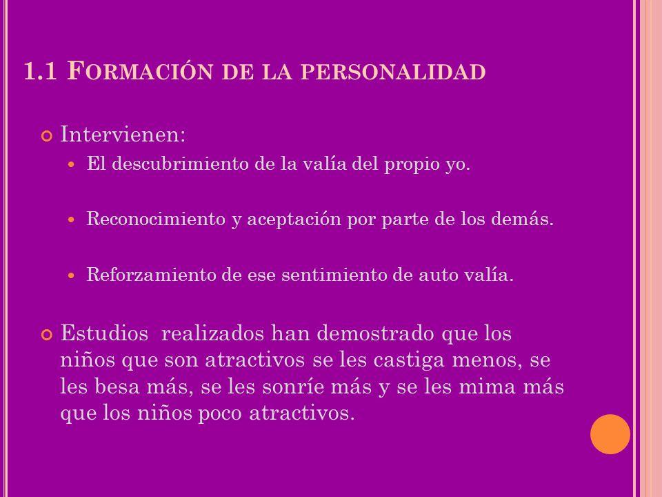 1.2 E L AUTOCONCEPTO Conocimiento que una persona tiene de si misma como ser físico social y psicológico (cómo me veo, cómo soy).
