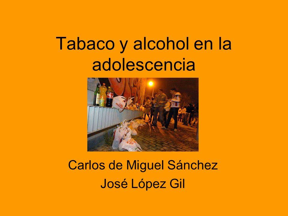 Tabaco y alcohol en la adolescencia Carlos de Miguel Sánchez José López Gil
