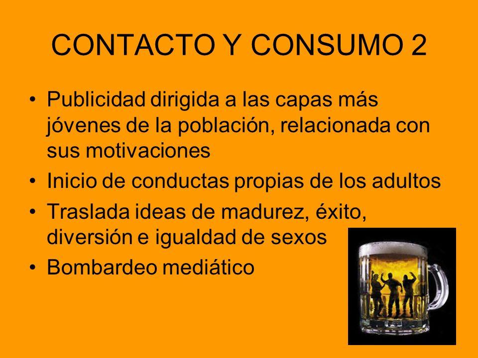 CONTACTO Y CONSUMO 2 Publicidad dirigida a las capas más jóvenes de la población, relacionada con sus motivaciones Inicio de conductas propias de los