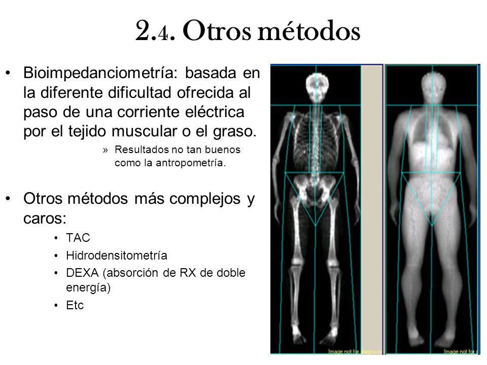 2. 4. Otros métodos Bioimpedanciometría: basada en la diferente dificultad ofrecida al paso de una corriente eléctrica por el tejido muscular o el gra