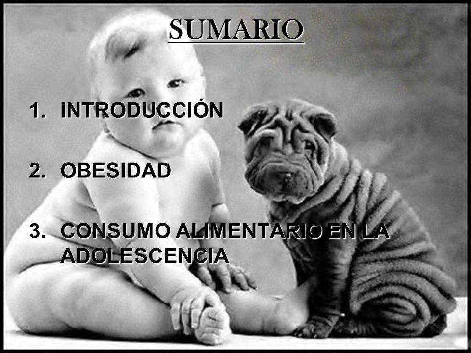 SUMARIO 1.INTRODUCCIÓN 2.OBESIDAD 3.CONSUMO ALIMENTARIO EN LA ADOLESCENCIA