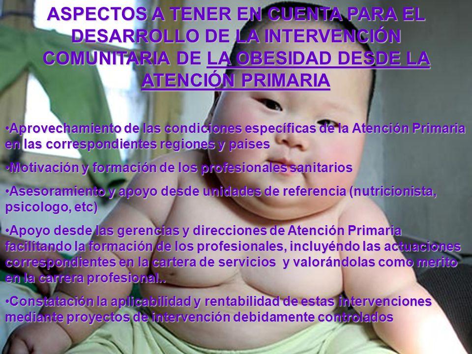ASPECTOS A TENER EN CUENTA PARA EL DESARROLLO DE LA INTERVENCIÓN COMUNITARIA DE LA OBESIDAD DESDE LA ATENCIÓN PRIMARIA Aprovechamiento de las condicio