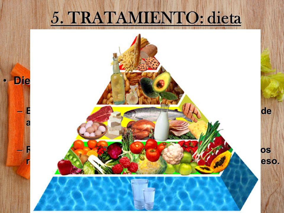 5. TRATAMIENTO: dieta DietaDieta –Evitar la ingesta de alimentos altamente calóricos o de alimentos fuera del hogar. –Reducir la ingesta de calorías (