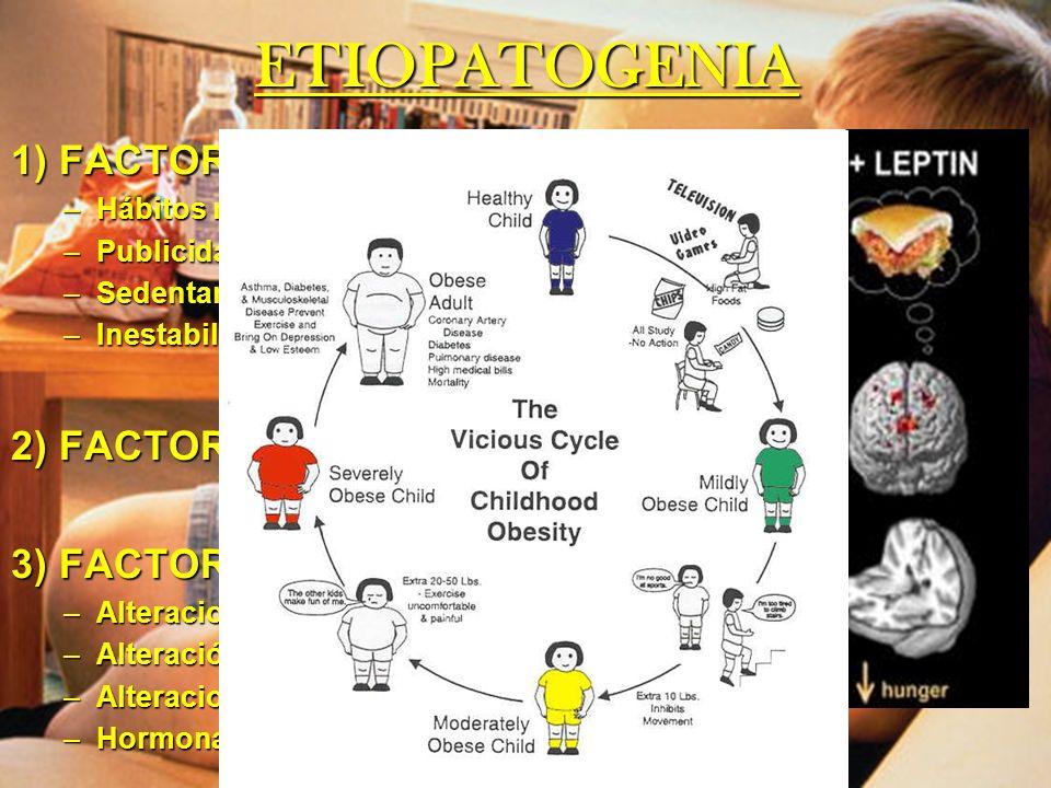 ETIOPATOGENIA 1) FACTORES AMBIENTALES –Hábitos nutricionales –Publicidad –Sedentarismo –Inestabilidad emocional 2) FACTORES GENÉTICOS 3) FACTORES HORM