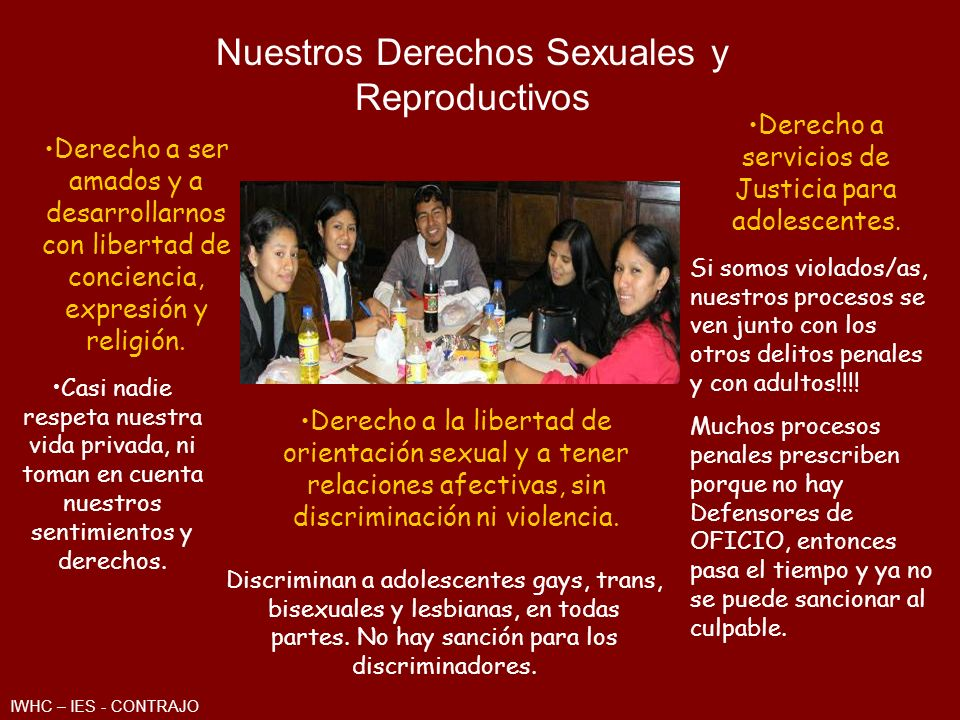 Derecho a la Educación Sexual, información, consejería sobre Crecimiento y Desarrollo sexual.