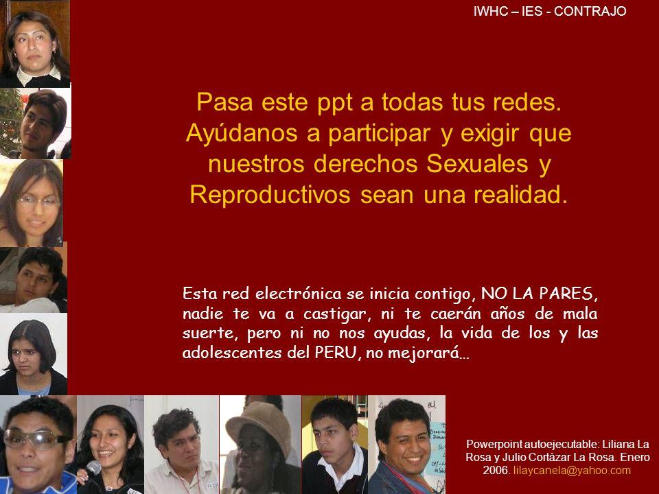 Pasa este ppt a todas tus redes. Ayúdanos a participar y exigir que nuestros derechos Sexuales y Reproductivos sean una realidad. Esta red electrónica
