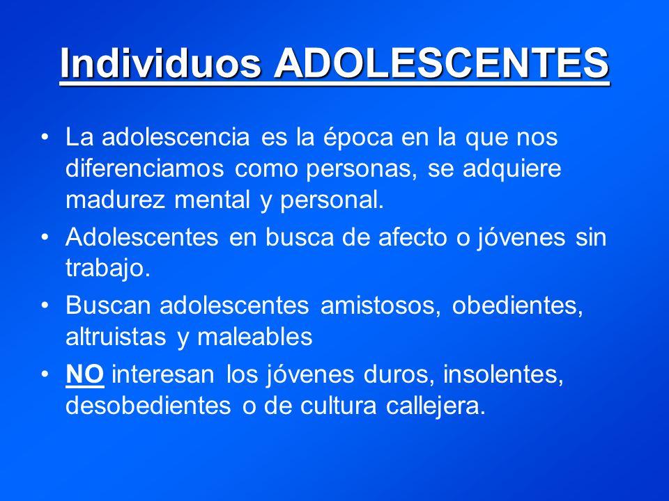 Individuos ADOLESCENTES La adolescencia es la época en la que nos diferenciamos como personas, se adquiere madurez mental y personal.
