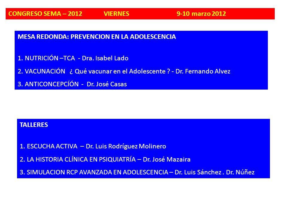 MESA REDONDA: PREVENCION EN LA ADOLESCENCIA 1. NUTRICIÓN –TCA - Dra. Isabel Lado 2. VACUNACIÓN ¿ Qué vacunar en el Adolescente ? - Dr. Fernando Alvez