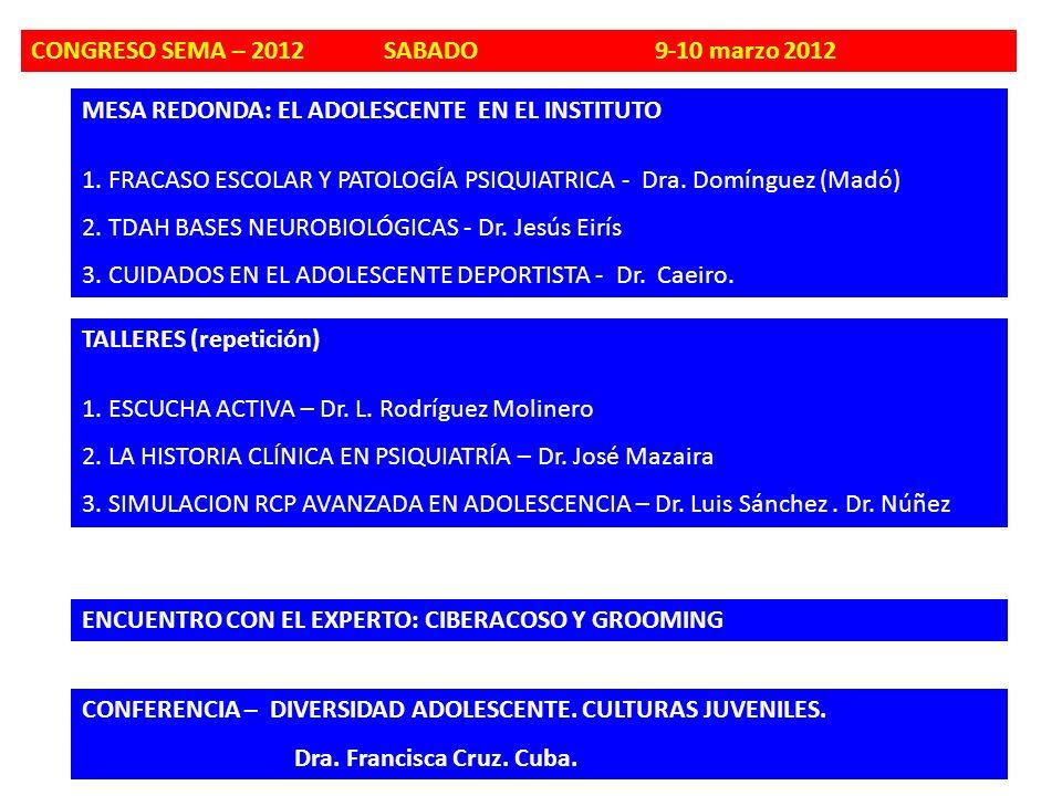 MESA REDONDA: EL ADOLESCENTE EN EL INSTITUTO 1. FRACASO ESCOLAR Y PATOLOGÍA PSIQUIATRICA - Dra. Domínguez (Madó) 2. TDAH BASES NEUROBIOLÓGICAS - Dr. J