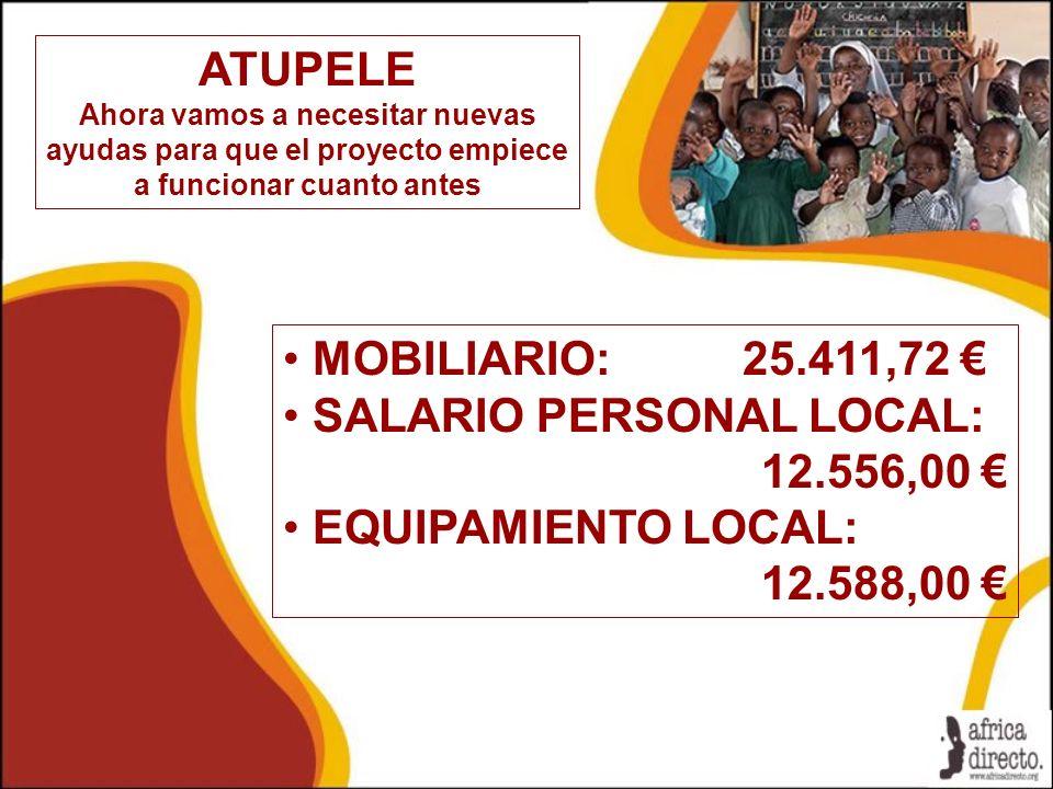 ATUPELE Ahora vamos a necesitar nuevas ayudas para que el proyecto empiece a funcionar cuanto antes MOBILIARIO: 25.411,72 SALARIO PERSONAL LOCAL: 12.5