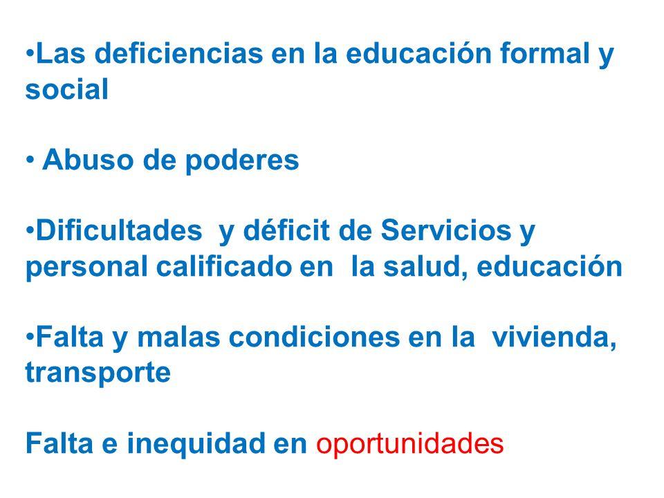 Las deficiencias en la educación formal y social Abuso de poderes Dificultades y déficit de Servicios y personal calificado en la salud, educación Fal